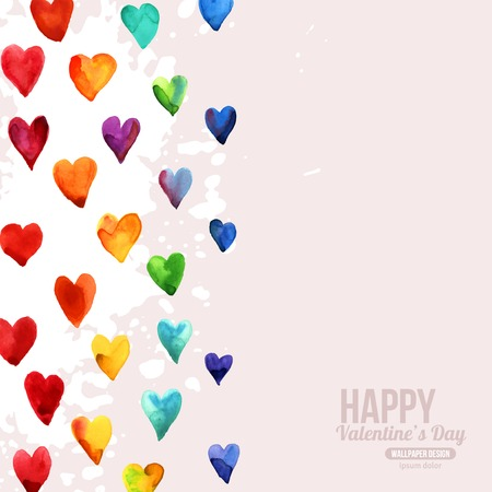 Rainbow Watercolor Happy Valentines Day Hearts. Aquarelle Holiday Vector Design. Many Rainbow Painted Hearts. Romantic Bright Lovely Design for Mothers Day.