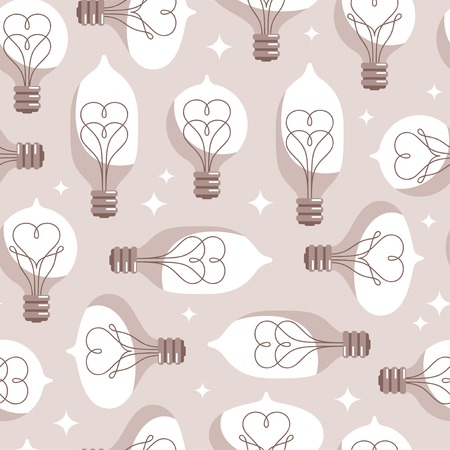 filament: Vintage Colored Light Bulbs Seamless Pattern. Vector Illustration. Lightbulbs with Filament like Heart Inside. Creative Valentines Day Tiling.