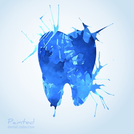 Creative Dental Icon Design. Vector Illustration. Tooth Painted with Blue Watercolor Splashes. Teeth Idea for Dentistry Corporate Identity Design. Vettoriali