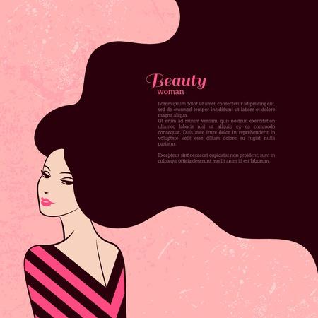 mujer elegante: Mujer de la manera de la vendimia con el pelo largo. Ilustraci�n del vector. Dise�o elegante para Sal�n de belleza aviador o Banner. Silueta de la muchacha. Cosm�ticos. Belleza. Salud y spa. Temas de moda.