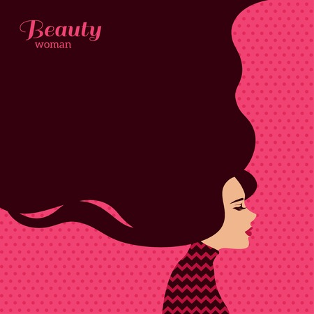hair design salon: Vintage Fashion Woman with Long Hair. Vector Illustration. Stylish Design for Beauty Salon Flyer or Banner. Girl Silhouette. Cosmetics. Beauty. Health and spa. Fashion themes. Illustration
