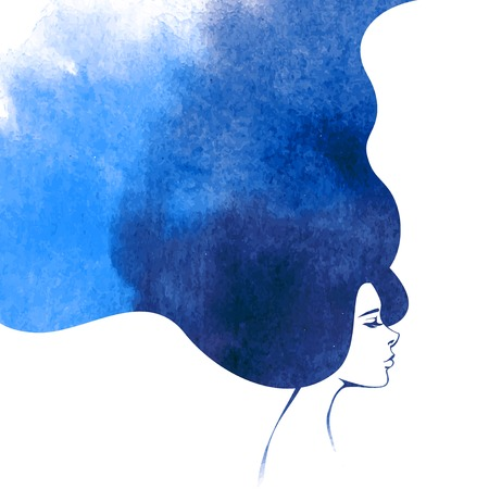 long tail: Watercolor Fashion Woman with Long Hair. Vector Illustration. Beautiful Mermaid Face. Girl Silhouette. Cosmetics. Beauty. Health and spa. Fashion themes. Illustration