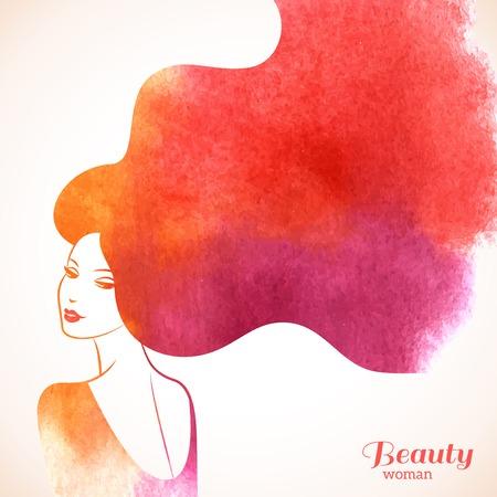 水彩ファッション長い髪を持つ女性。ベクトル イラスト。美容院のチラシやバナーのスタイリッシュなデザイン。少女のシルエット。化粧品。美し