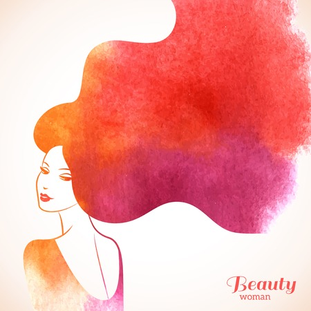 Aquarel Fashion vrouw met lang haar. Vector Illustratie. Stijlvol ontwerp voor Beauty Salon Flyer of Banner. Silhouet meisje. Cosmetica. Schoonheid. Gezondheid en wellness. Mode-thema's.