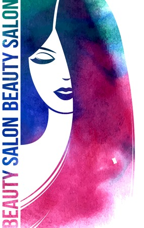 Watercolor Fashion Woman with Long Hair. Vector Illustration. Stylish Design for Beauty Salon Flyer or Banner. Girl Silhouette. Cosmetics. Beauty. Health and spa. Fashion themes.