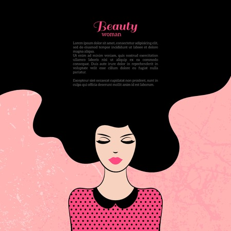 Vintage Fashion vrouw met lang haar. Vector Illustratie. Stijlvol ontwerp voor Beauty Salon Flyer of Banner. Silhouet meisje. Cosmetica. Schoonheid. Gezondheid en wellness. Mode-thema's.