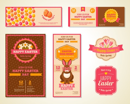 Vintage Happy Easter Greeting Cards Design. Vector Illustration. Retro Banners or Flyers with Patterns. Easter Rabbit with Hipster Glasses. Crocuses and Daffodils Frame Composition with Ribbon. Illustration