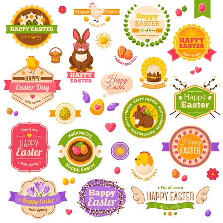 Easter scrapbook set. Labels, ribbons and other elements. Vector illustration. Cute Happy Easter Icons. Chick and Hen, Daffodils and Crocuses, Sweet Cake, Chocolate Rabbit. Easter Egg Hunt. Çizim