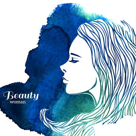 freedom woman: Watercolor Fashion Woman with Long Hair. Vector Illustration. Beautiful Mermaid Face. Girl Silhouette. Cosmetics. Beauty. Health and spa. Fashion themes. Illustration