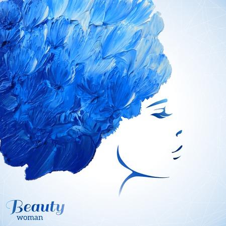 Acquerello Moda Donna con capelli lunghi. Illustrazione vettoriale. Bella Mermaid Face. Ragazza Silhouette. Cosmetics. Beauty. Salute e benessere. Temi di moda.