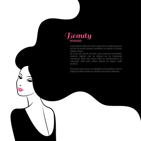 Abstracte Fashion vrouw met lang haar. Vector Illustratie. Stijlvol ontwerp voor Beauty Salon Flyer of Banner. Silhouet meisje cosmetica, schoonheid, gezondheid en wellness, mode thema's.