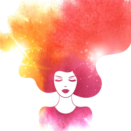 salon: Watercolor Fashion Woman with Long Hair. Vector Illustration. Stylish Design for Beauty Salon Flyer or Banner. Girl Silhouette. Cosmetics. Beauty. Health and spa. Fashion themes.