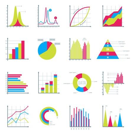 diagrama: Infografía elementos en Modern Flat estilo empresarial. Gráficos de visualización de datos. Bar diagramas, gráficos circulares diagramas, gráficos mostrando crecimiento. Iconos conjunto aislado en blanco. Ilustración del vector.