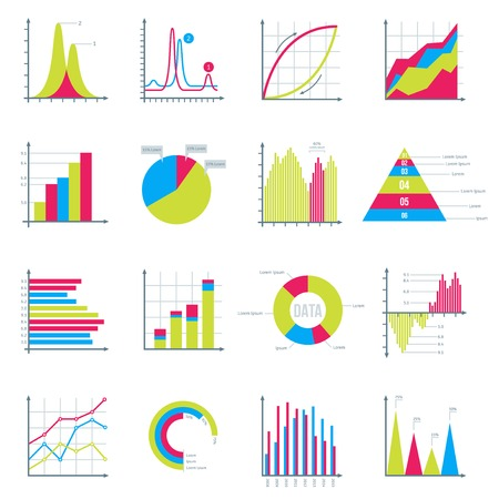 Infographics Elements in Modern Flat Business Style. Graphics for Data Visualization. Bar Diagrams, Pie Charts Diagrams, Graphs showing growth. Icons Set Isolated on White. Vector illustration. Vettoriali