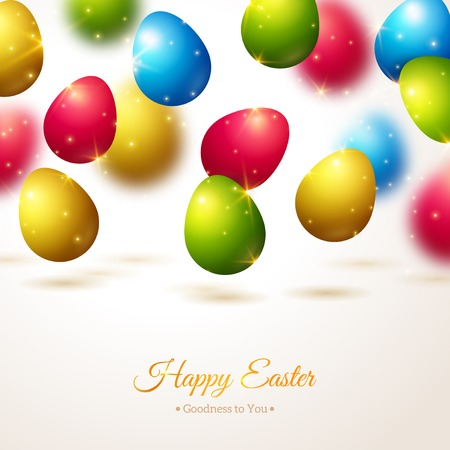 Happy Easter Greeting Card with Colorful Eggs. Vector Illustration. Realistic Shining Easter Background with Flying Eggs and Sparkles. Easter Egg Hunt. Vector