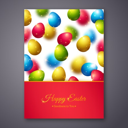 Easter eggs in doodle minimalism style with place for your text happy easter greeting card design with colorful eggs vector illustration realistic shining easter background m4hsunfo Choice Image