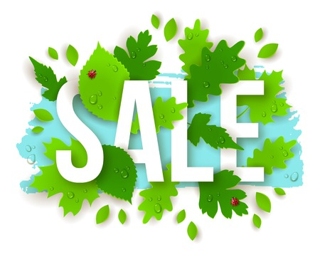 dew: Sale Text with Spring Green Leaves. Vector Illustration. 3D effect. Typography Business Poster or Flyer Design. Water drops and lady bugs. Dew on leaves.