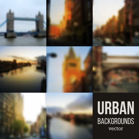 web design bridge: Set of Blurred Urban Backgrounds. Vector illustration. City blur unfocused background. Travel design.