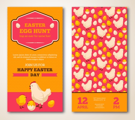 gallina con huevos: Dise�o del vintage Tarjeta de felicitaci�n de Pascua feliz. Ilustraci�n del vector. Banners retro con patr�n. Marco de Pascua. Huevo de Pascua de la caza folleto con la gallina y de pollo.
