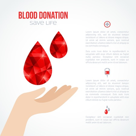 Donor Poster or Flyer. Blood Donation Lifesaving and Hospital Assistance. Vector illustration. World Blood Donor Day Banner. Creative Blood Drop. Medical Design Elements. Vector