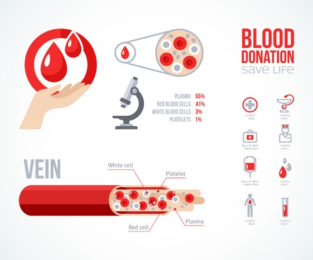 Donor infographics Icons Set. Blood Donation Lifesaving and Hospital Assistance. Vector illustration. World Blood Donor Day. Blood Drop. Medical Design Elements. Human Vein Scheme.