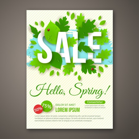 Spring Sale flyer design with green leaves. Vector illustration. Place for your text message. Business event concept. Sale banner design for web site. Water drops and ladybugs. Dew on leaves. Stock Vector - 36978577