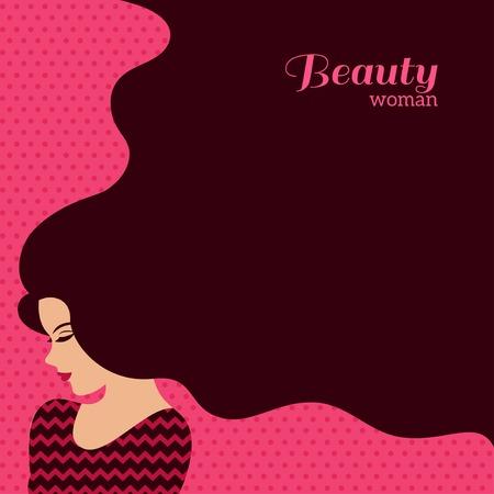 ヴィンテージのファッション長い髪の女。ベクトルの図。美容室チラシやバナーのスタイリッシュなデザイン。女の子シルエット - 化粧品、美容、