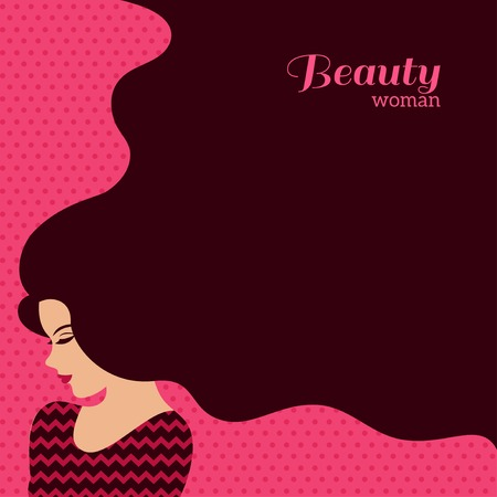 Vintage Fashion vrouw met lang haar. Vector Illustratie. Stijlvol ontwerp voor Beauty Salon Flyer of Banner. Silhouet meisje - cosmetica, beauty, spa, mode thema's.