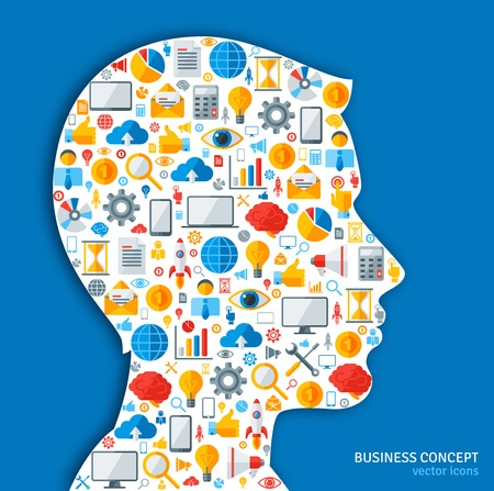 idea generation: Creative concept of Business Processes. Vector illustration. Man silhouette with Business icons and symbols in his head. Brainstorming process. Business Idea Generation.