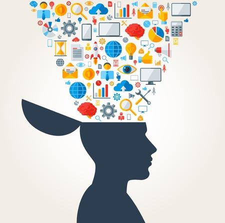 Concepto creativo de Desarrollo de Negocios. Ilustración del vector. Silueta del hombre con los iconos y símbolos de negocios en la cabeza. Proceso de lluvia de ideas. Negocio de Generación Idea.