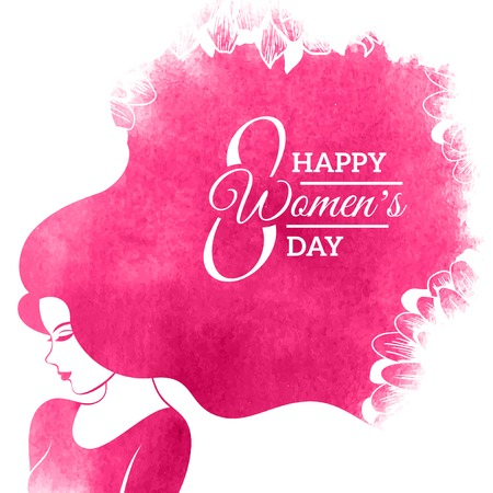Watercolor Fashion Woman with Long Hair. Vector Illustration. Happy International Womens Day Greeting Card Design. Flowers Pattern. Typographic Composition for 8 March Day
