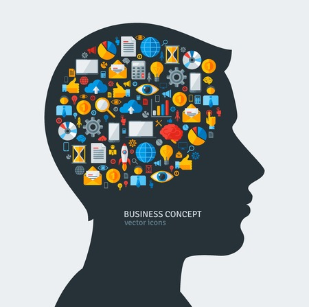 idea generation: Creative concept of Business Development. Vector illustration. Man silhouette with Business icons and symbols in his head. Brainstorming process. Business Idea Generation. Illustration