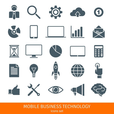 successful campaign: Abstract vector set of colorful flat business and mobile technology icons. Creative concepts and design elements for mobile and web applications.