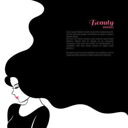ヴィンテージのファッション長い髪を持つ女性。ベクトル イラスト。美容院のチラシやバナーのスタイリッシュなデザイン。少女のシルエット - 化  イラスト・ベクター素材