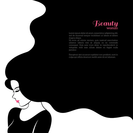 salon: Vintage Fashion Woman with Long Hair. Vector Illustration. Stylish Design for Beauty Salon Flyer or Banner. Girl Silhouette - cosmetics, beauty, health  spa, fashion themes.