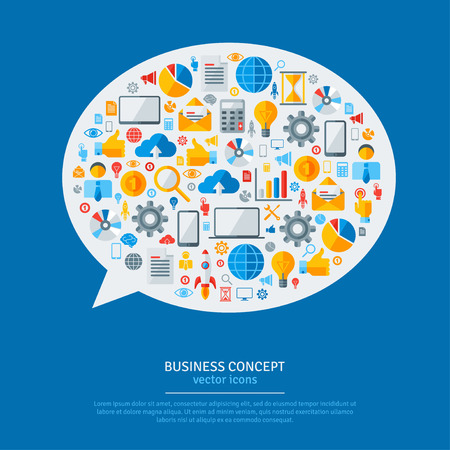 group plan: Business Strategy Plan Concept Idea. Vector Illustration. Speech Bubble with Flat Business Icons. Startup Discussion Concept. Illustration