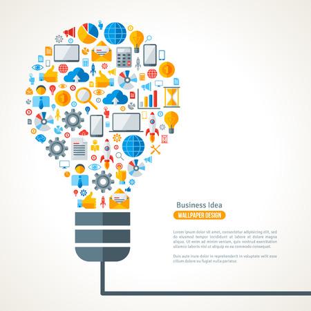 bombilla de luz: Bombilla con iconos de negocios Patrón. Ilustración del vector. Idea de Negocio Concepto Creativo. Idea abstracta Plantilla Infografía.