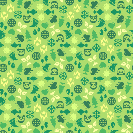 """wild life"": Green Ecology Background Made of Eco Icons. Vector Seamless Pattern. Save Planet. Wild Life Icons. Weather Icons."