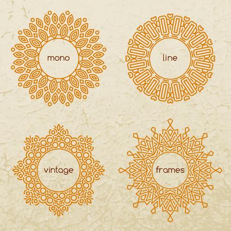 Set of outline design elements in minimal style. Vector Illustration. Line frames for seals, stamps and badges.