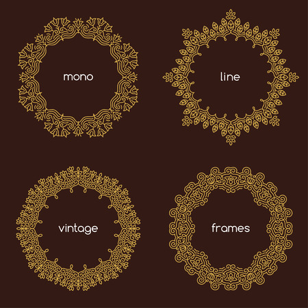 Vector geometric frame in trendy mono line style. Art deco golden monogram design element on dark background.