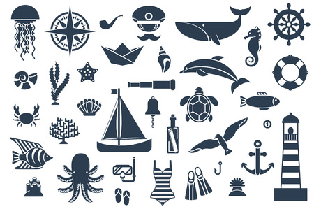 sea shells on beach: Flat icons with sea creatures and symbols. Vector illustration. Marine symbols. Sea leisure sport. Nautical design elements.