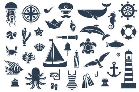 Iconos planos con las criaturas del mar y símbolos. Ilustración del vector. Símbolos marinos. Deporte de ocio mar. Elementos de diseño náutico.