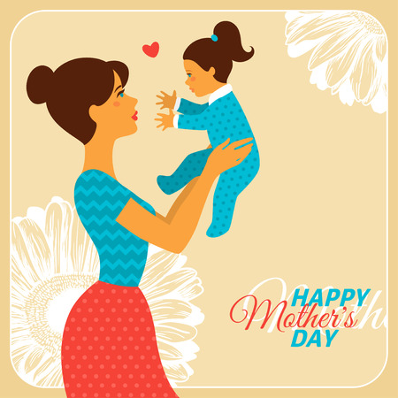 baby moeder: Moeder en dochter met gelukkige Dag van Moeders Felicitatie tekst. Vector Illustratie. Vintage stijl Moeder dag Concept. Gelukkige Vrouw Knuffelen Baby.