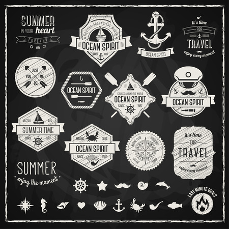 Vintage design elements. Vector illustration. Retro chalk style typographic labels, tags, badges, stamps, arrows and emblems set. Summer and traveling collection. Marine symbols.