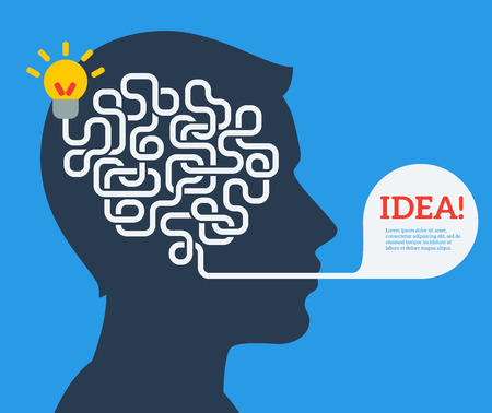 business idea: Creative concept of human brain, vector illustration. Flat style. Business Idea Development poster or banner. Man head with abstract brain inside.