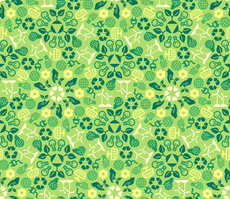 eco: Green Ecology Background Made of Eco Icons. Vector Seamless Pattern. Wind and Solar Energy. Green Technologies.