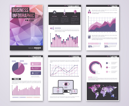 purple: Set of Poster Templates with Triangles Texture.