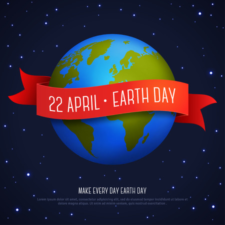 red earth: illustration of earth globe with red ribbon and text Earth Day 22 April.