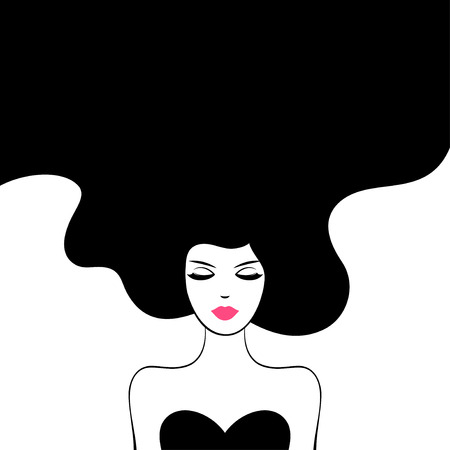 black hair girl: Vintage Fashion Woman with Long Hair. Illustration