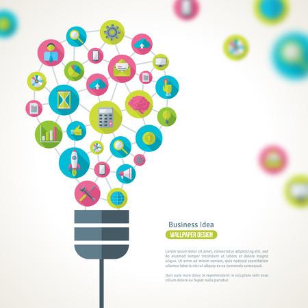 Bombilla con iconos de negocios Patrón. Ilustración del vector. Idea de Negocio Concepto Creativo. Idea abstracta Plantilla Infografía.